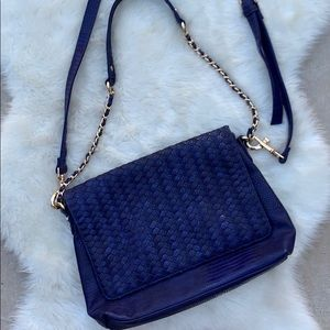 Neiman Marcus Blue Reptile Crossbody Purse Bag